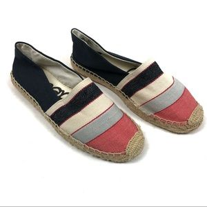 SAM EDELMAN Canvas Striped Espadrille Flats 5.5